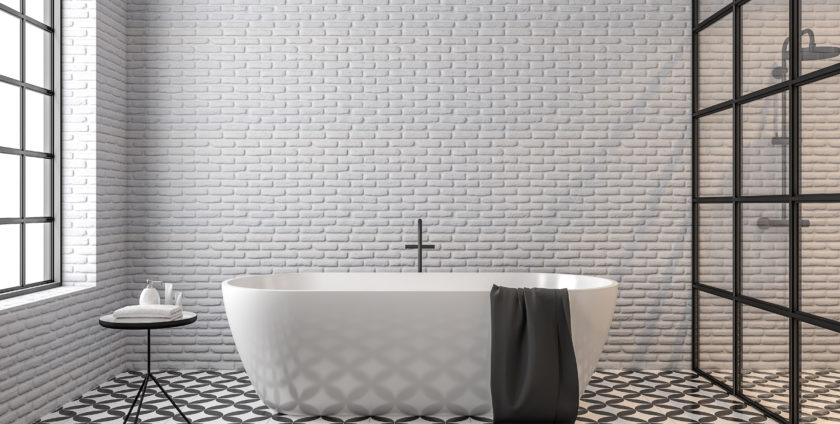 Scandinavian loft style bathroom 3d render,There are white brick wall, black and white tile floor pattern, There are black metal frame window nature light shining into the room.